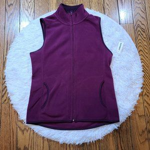 NWT Old Navy Women's Burgundy Fleece Full Zip Vest